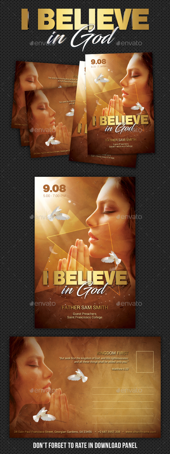 Believe In God Postcard - Cards & Invites Print Templates