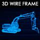 Backhoe Excavator 3D Wireframe