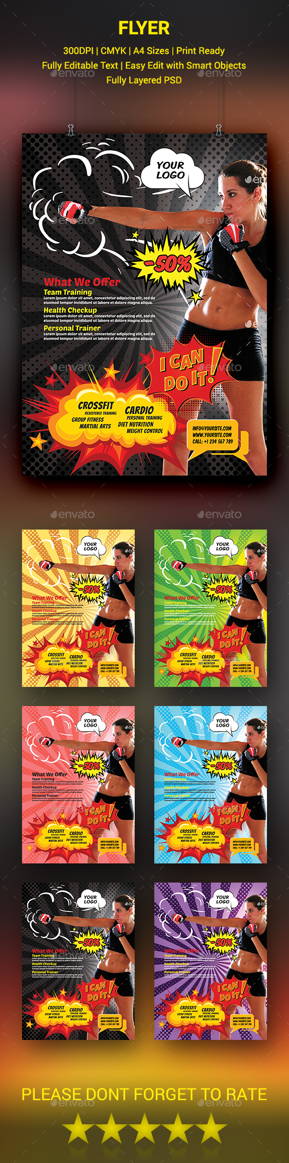GraphicRiver Comic Style Fitness Flyer 20443750