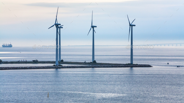 turbines on ground of offshore wind farm