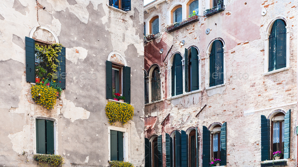 facades of urban houses on Campo San Aponal - Stock Photo - Images