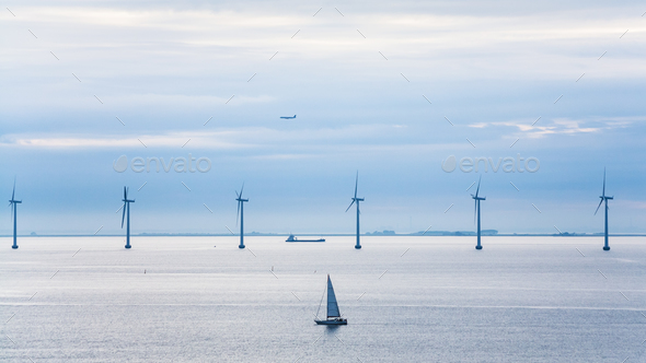 yacht, ship, airplane and offshore wind farm