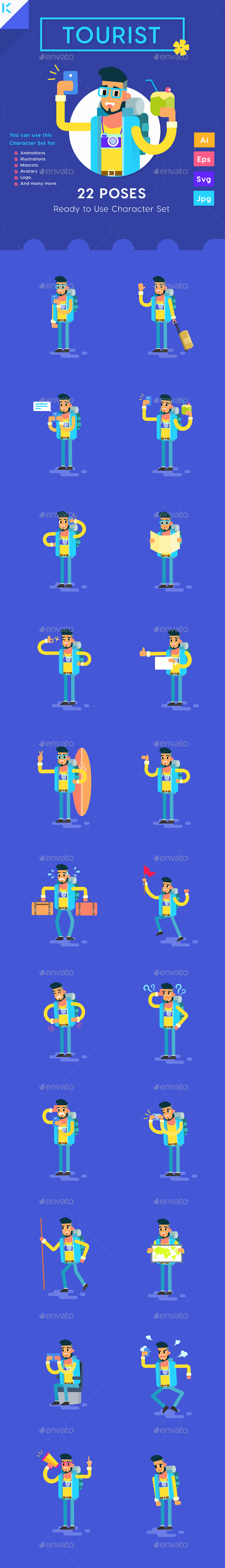 GraphicRiver Male Tourist Travelling with Smartphone Character Set 20443804