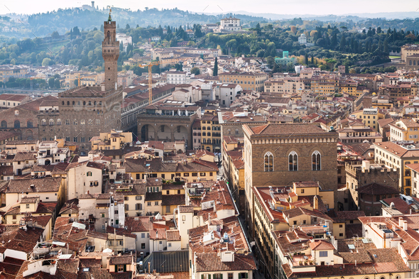 above view of Florence town with Palazzo Vecchio - Stock Photo - Images