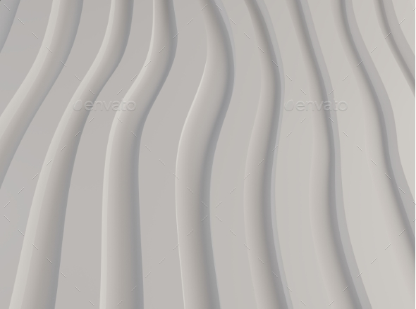 Black and White Pattern Made of Curved Waves 3d - Abstract 3D Renders