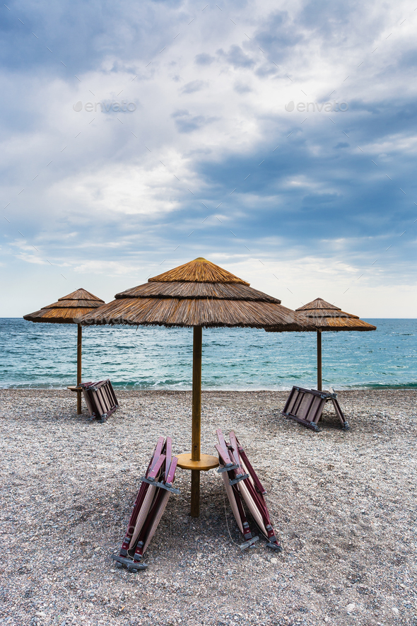 empty beach Marina di Cottone on Ionian sea - Stock Photo - Images