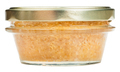 front view of glass jar with caviar of pike fish