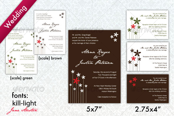 Brown White Modern Wedding Invitation by alavalleur GraphicRiver