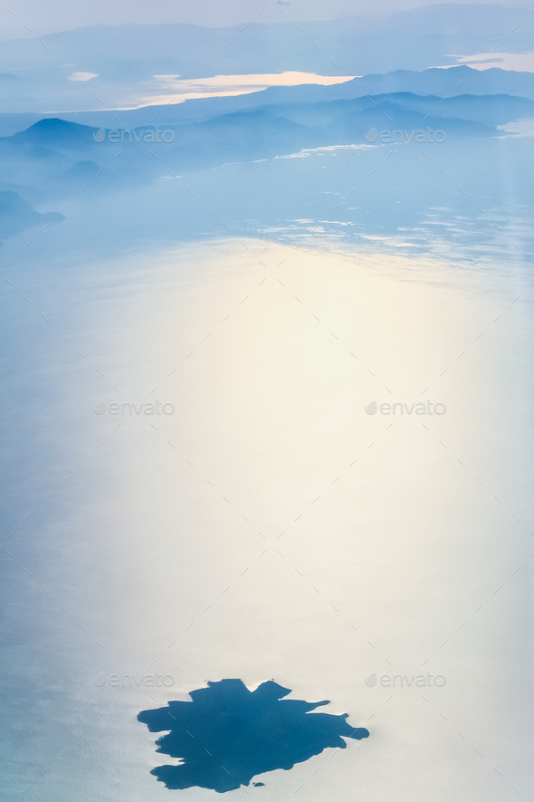 above view of island in Aegean sea - Stock Photo - Images