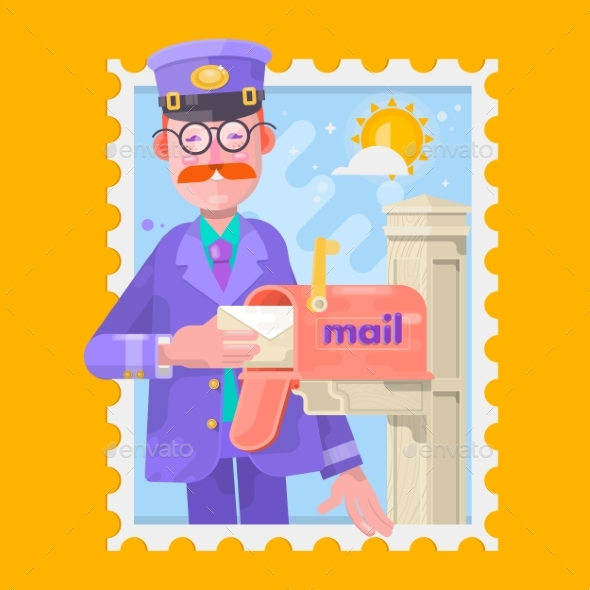 GraphicRiver Postman In Purple Uniform Delivering Mail 20444863