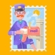 Postman In Purple Uniform Delivering Mail