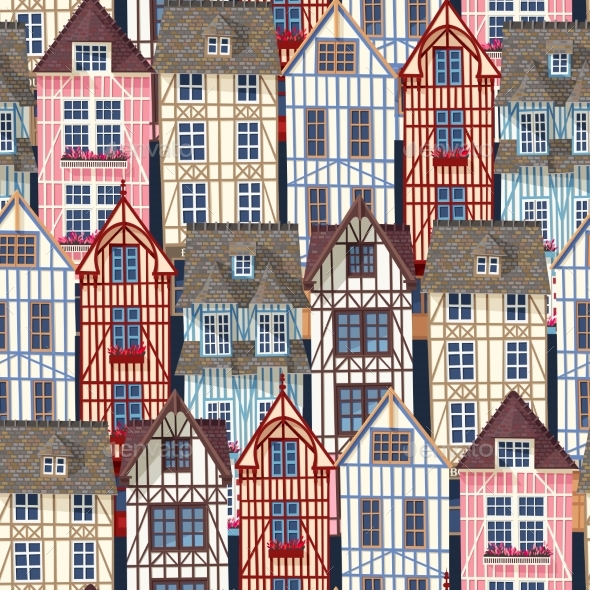 Old Town Seamless Pattern - Buildings Objects