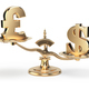 Scale with symbols of currencies UK pound and US dollar isolated - PhotoDune Item for Sale