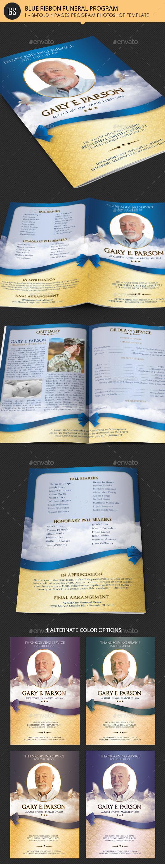 Blue Ribbon Funeral Program Template - Informational Brochures