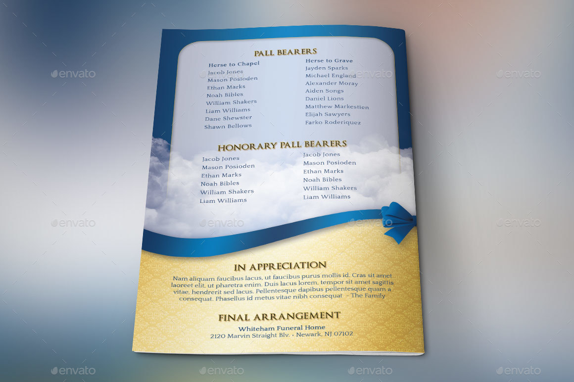 Blue Ribbon Funeral Program Template by Godserv2 | GraphicRiver