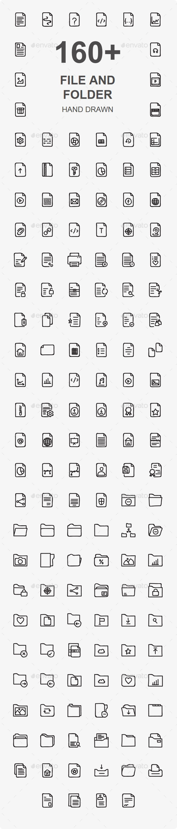 GraphicRiver Files and Folders Hand Drawn icon 20445105