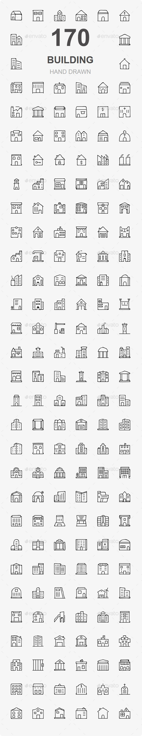 Building and Real Estate Hand Drawn icon - Buildings Objects