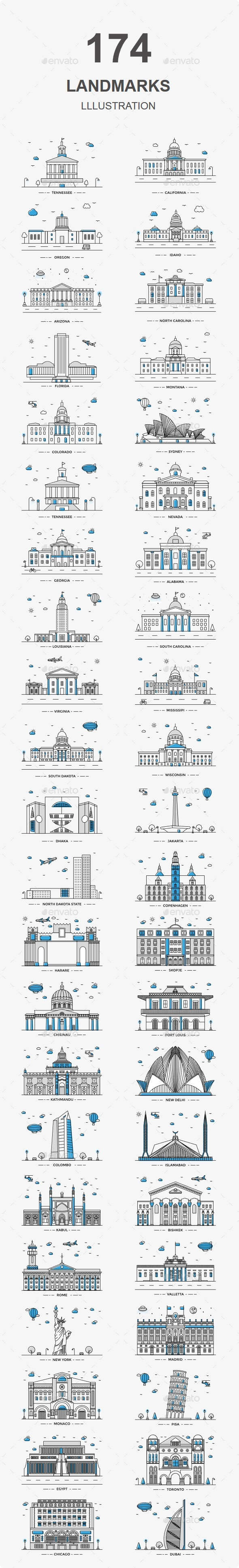 Capital World Landmarks Illustration - Icons