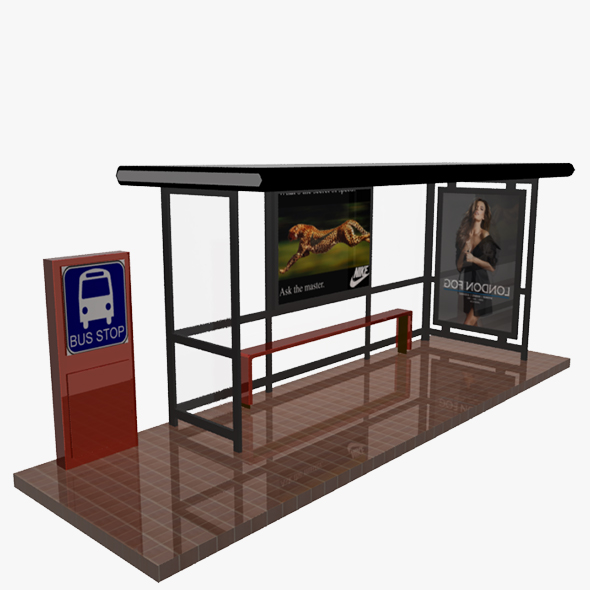 Bus Stop Shelter 02 - 3DOcean Item for Sale