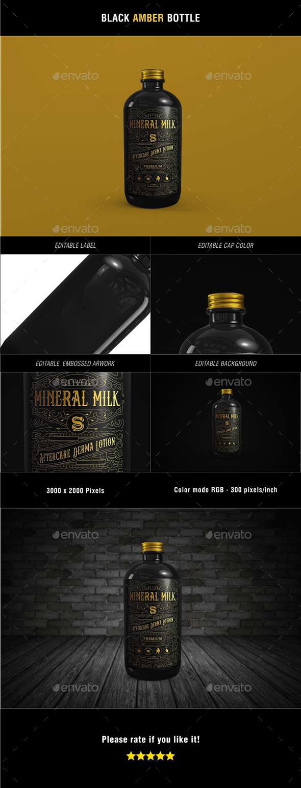 Black Amber Bottle - Packaging Product Mock-Ups