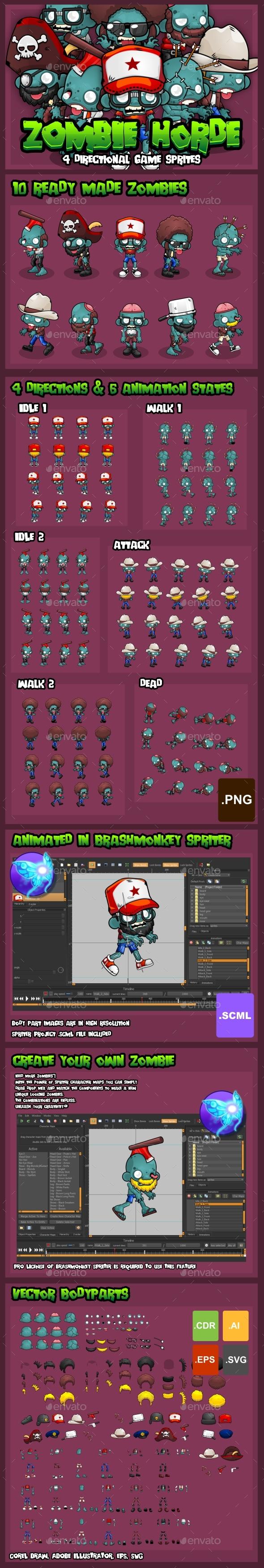 Zombie Horde - Game Sprites - Sprites Game Assets