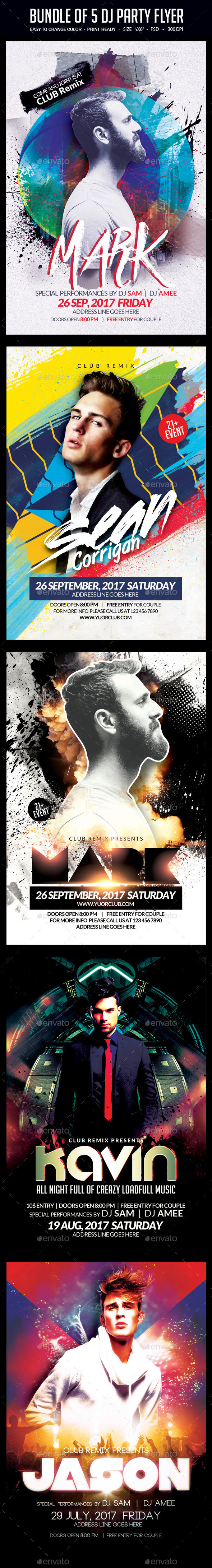 Bundle of 5 DJ Party Flyers - Clubs & Parties Events