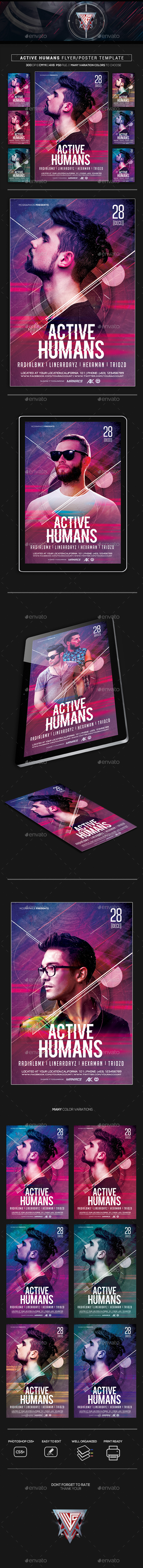 Active Humans Flyer/Poster Template - Flyers Print Templates