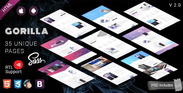 Gorilla || Responsive App Landing Page - Technology Site Templates