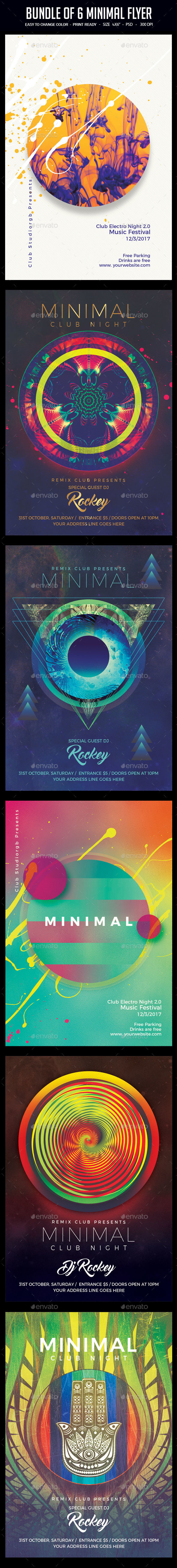 Bundle of 6 Minimal Flyers - Clubs & Parties Events