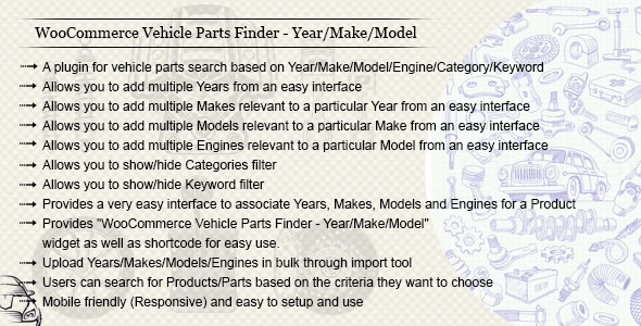 WooCommerce Vehicle Parts Finder - Year/Make/Model/Engine/Category/Keyword - CodeCanyon Item for Sale