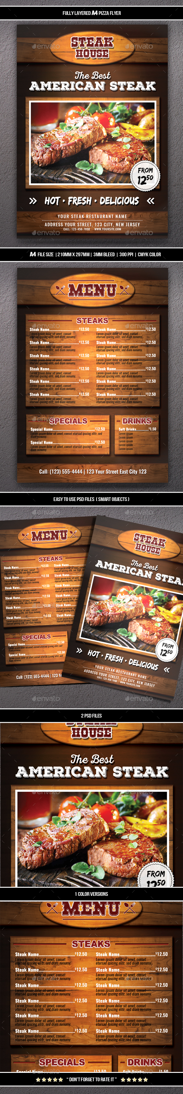 Steak Flyer (A4) - Restaurant Flyers