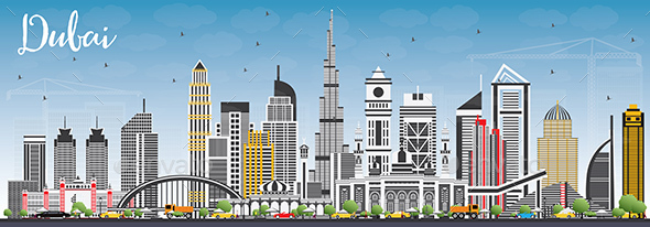 Dubai UAE Skyline with Gray Buildings and Blue Sky. - Buildings Objects
