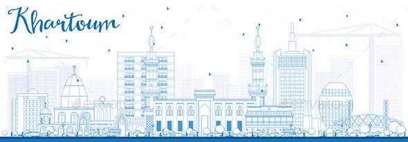 Outline Khartoum Skyline with Blue Buildings. - Buildings Objects