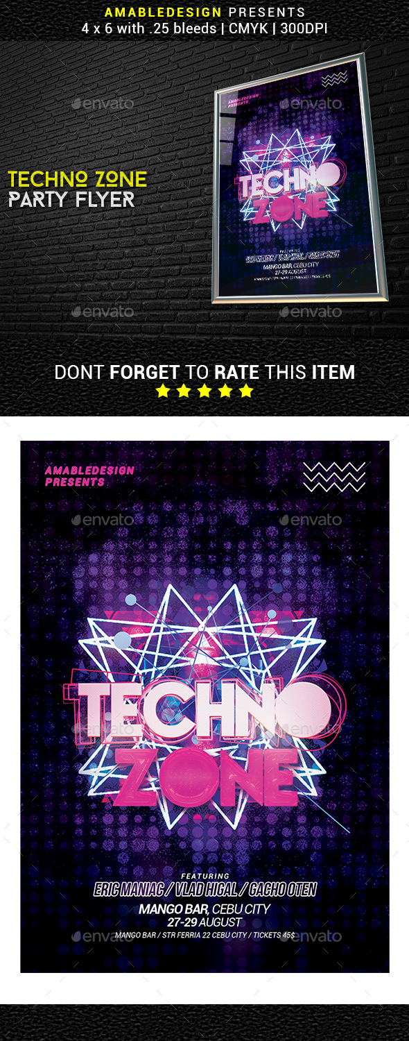 Techno Zone Sounds Flyer - Clubs & Parties Events