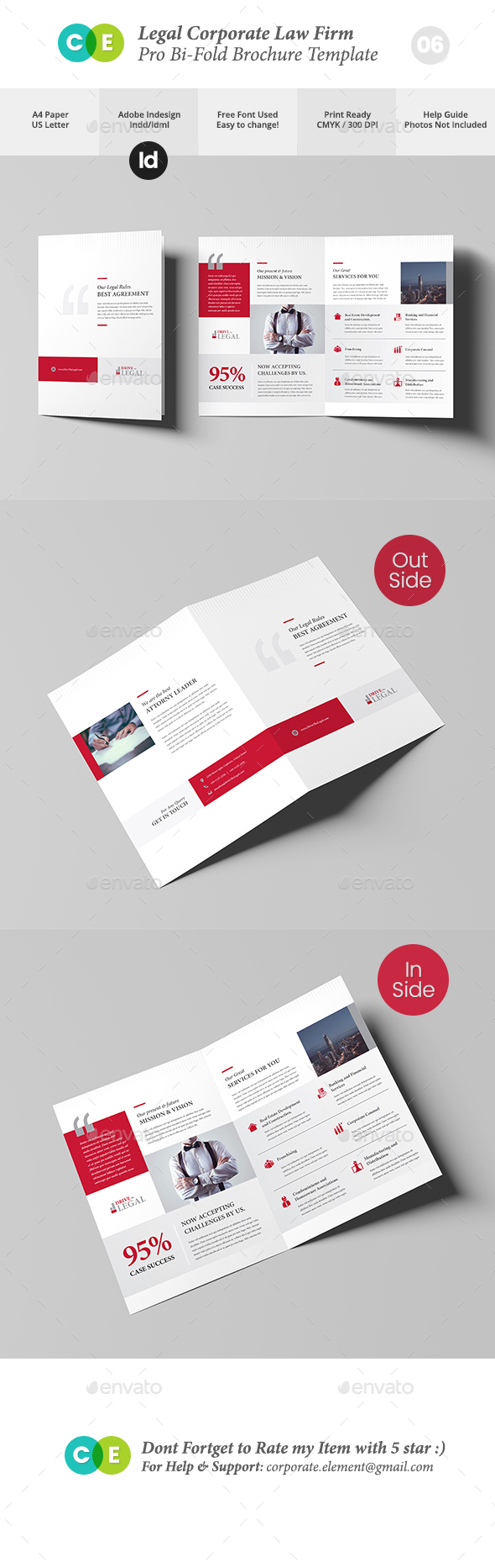 Legal Corporate Law Firm Business Bi-Fold Brochure V06 - Brochures Print Templates
