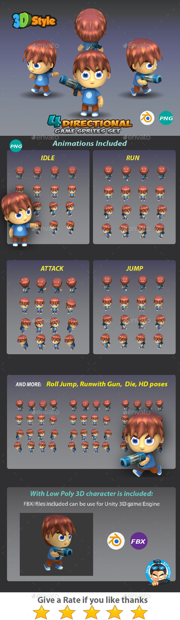 GraphicRiver 4-Directional Game Sprites 3D Rendered 01 20446449