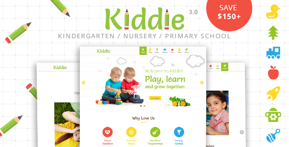 Kiddie - Kindergarten / Nursery / Preschool  WordPress Theme