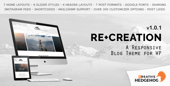 ReCreation - a Responsive Blog Theme for WordPress - Personal Blog / Magazine