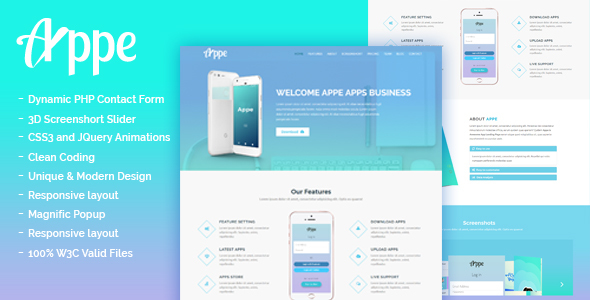 ThemeForest Appe Business App Onepage Template 20446783