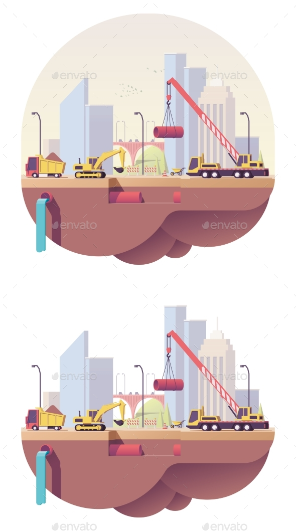 GraphicRiver Vector Low Poly Water Main Construction Site 20447117