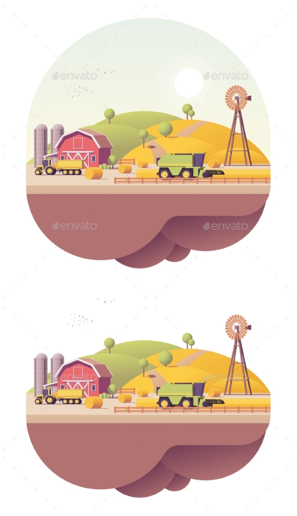 Vector Low Poly Farm Field Works - Man-made Objects Objects