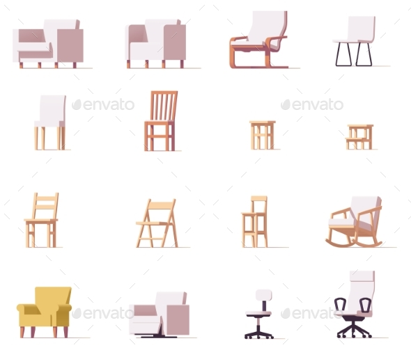 Vector Chairs Set - Objects Vectors