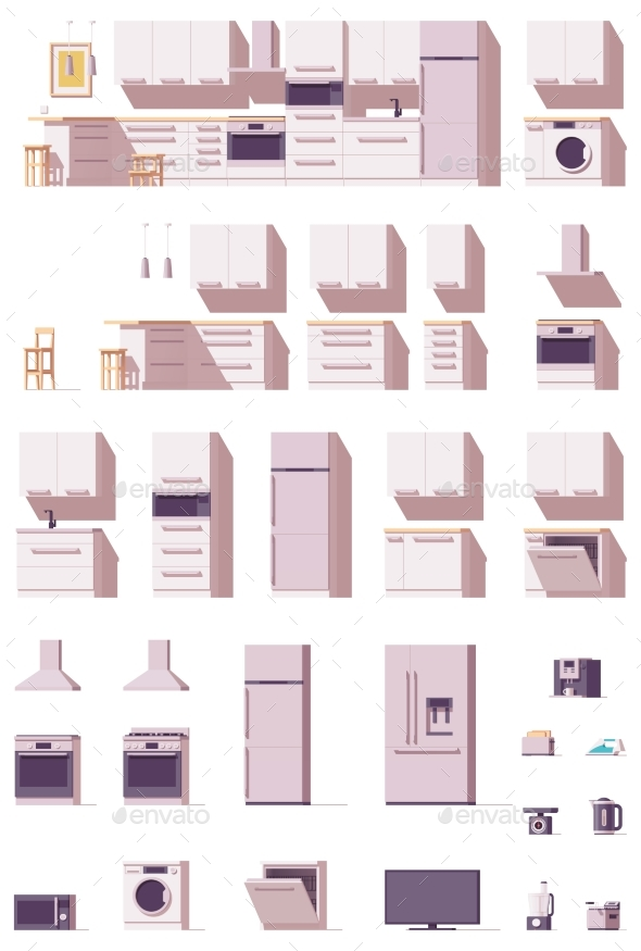 Vector Kitchen Equipment and Furniture Set - Objects Vectors