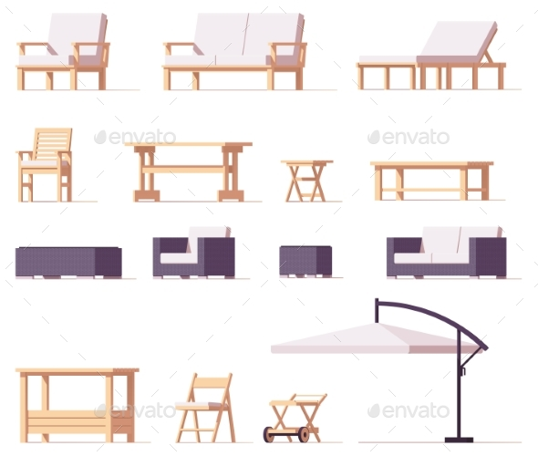 GraphicRiver Vector Patio and Outdoor Furniture Set 20447122