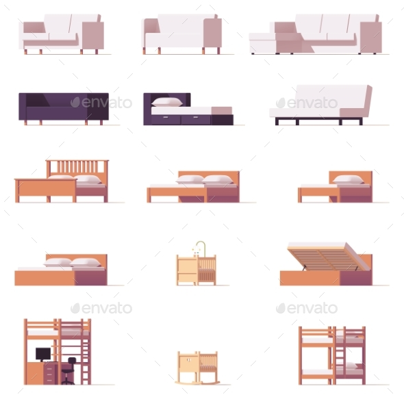 Vector Beds and Sofas Set - Objects Vectors