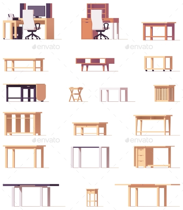 Vector Table Set - Objects Vectors