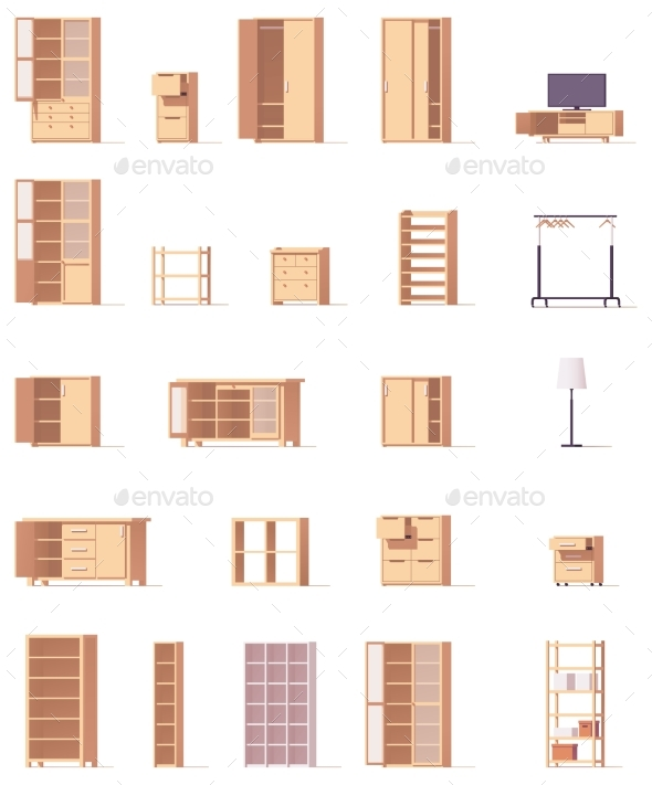 Vector Cabinets Set - Objects Vectors