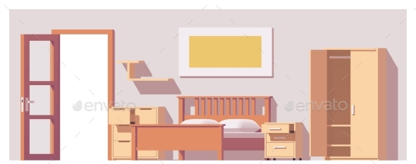 Vector Low Poly Bedroom - Buildings Objects