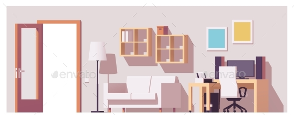 Vector Home Office Interior - Buildings Objects
