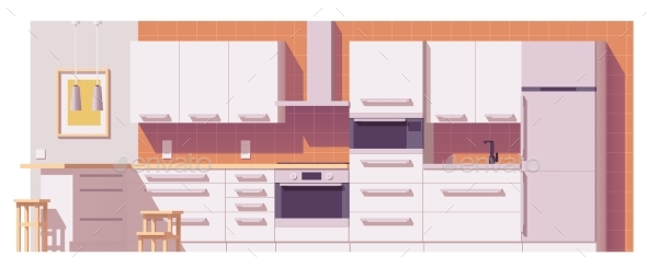 Vector Kitchen Illustration - Buildings Objects